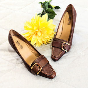 Michael Michael Kors Leather Brown Heels Sz 7.5